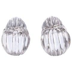 David Webb Rock Crystal Pendant Earrings