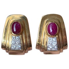 David Webb Ruby and Diamond Earrings
