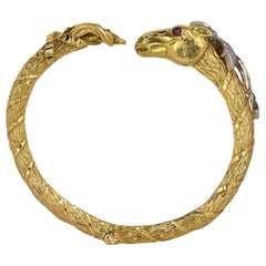 David Webb Ruby and Diamond Horse Bangle