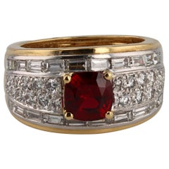 David Webb Ruby and Diamond Ring in 18 Karat and Platinum