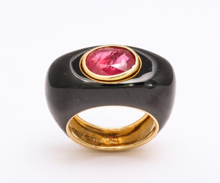 Women's or Men's David Webb Ruby and Enamel Ring For Sale