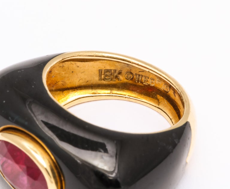 David Webb Ruby and Enamel Ring For Sale 1