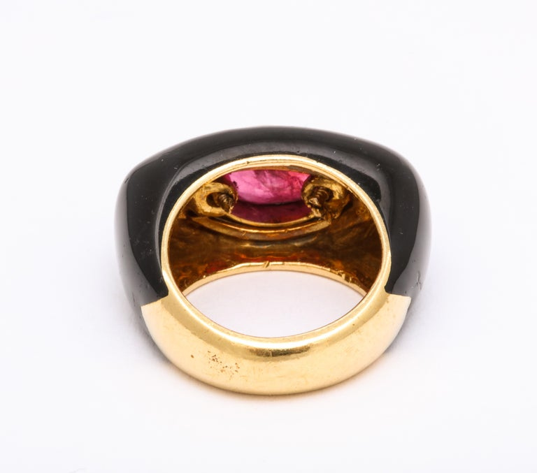 David Webb Ruby and Enamel Ring For Sale 2