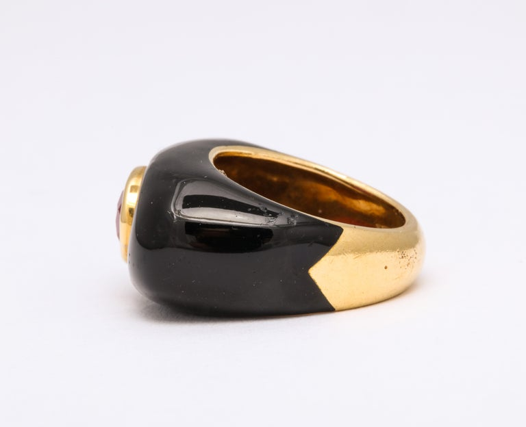 David Webb Ruby and Enamel Ring For Sale 3