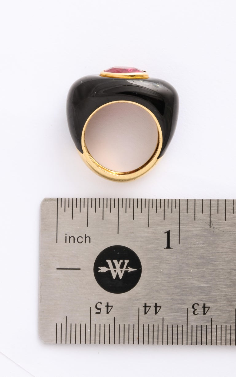 David Webb Ruby and Enamel Ring For Sale 4