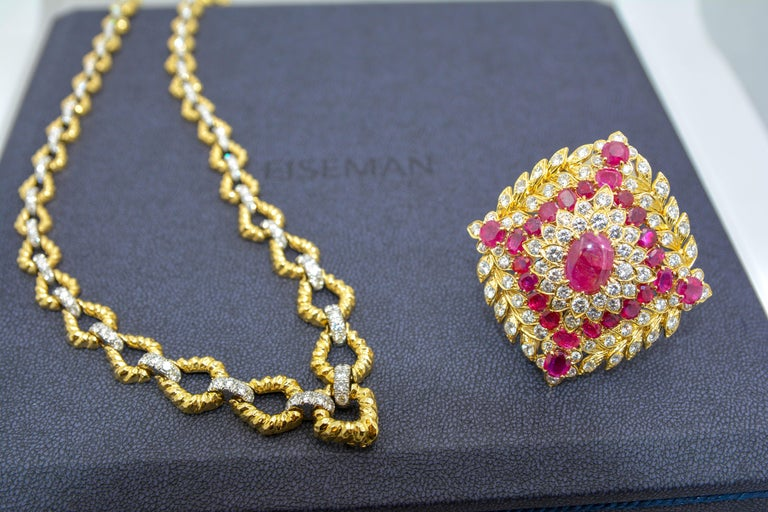 David Webb Ruby Diamond 18 Karat Gold Platinum Necklace and Brooch In Excellent Condition For Sale In Dallas, TX