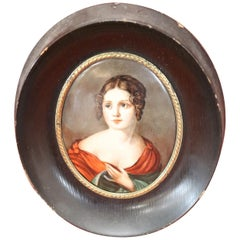 19th Century Portrait of Paolina Bonaparte in Miniature Painted on Ceramic