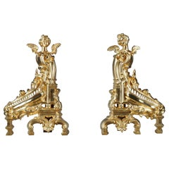 19th Century Napoleon III Rocaille-Style Ormolu Bronze Fireplace Andirons