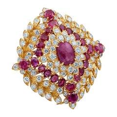 David Webb Ruby Diamond 18 Karat Gold Platinum Necklace and Brooch