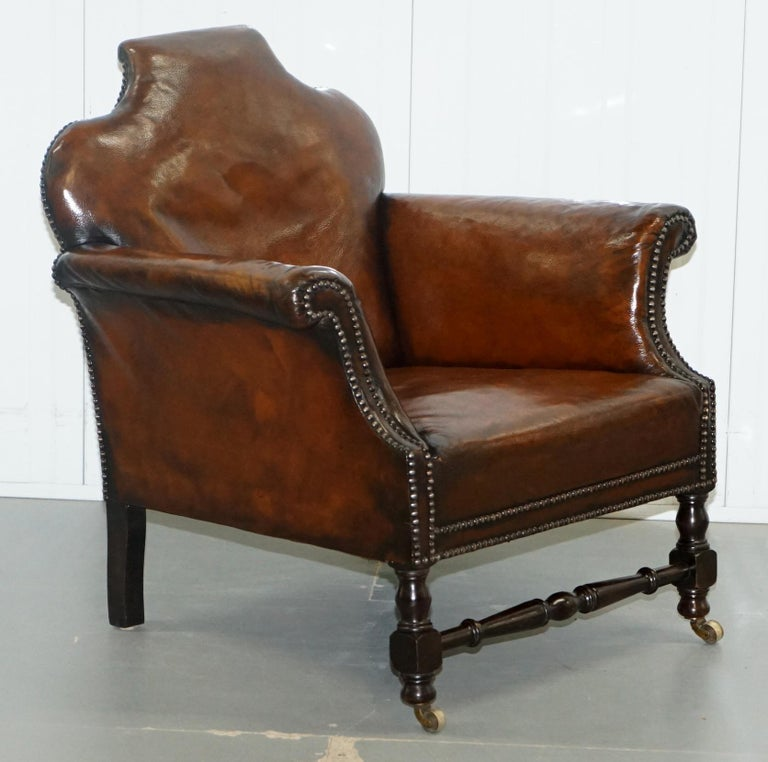 Small Victorian Restored Humpback Brown Leather Club Suite ...