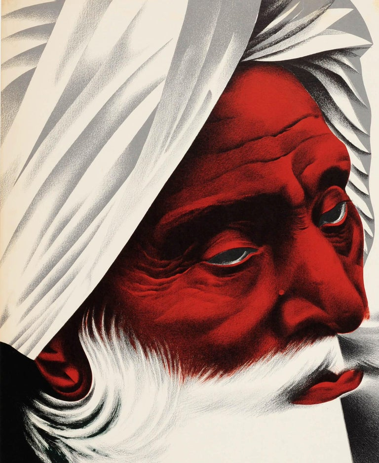 Original vintage travel poster advertising cruise trips to Bombay (now Mumbai) in India by American President Lines featuring a man in a turban with a thick white beard against a yellow background, a cruise liner ship sailing between the title text