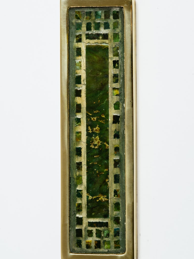 Large rectangular Mexican stone inlay brass door handle, attributed to Pepe Mendoza, Mexico, circa 1970s. Stamped MEXICO on back.