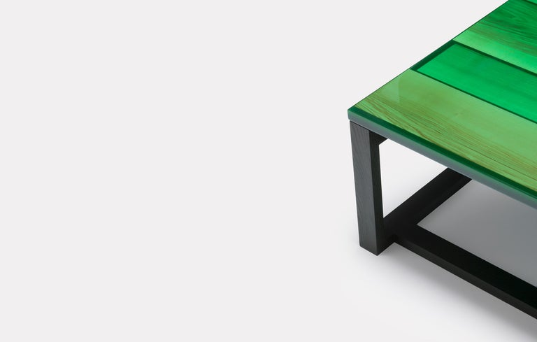 Modern Iro Low Table in Green Stained Ash and Ocean Green by Jo Nagasaka For Sale