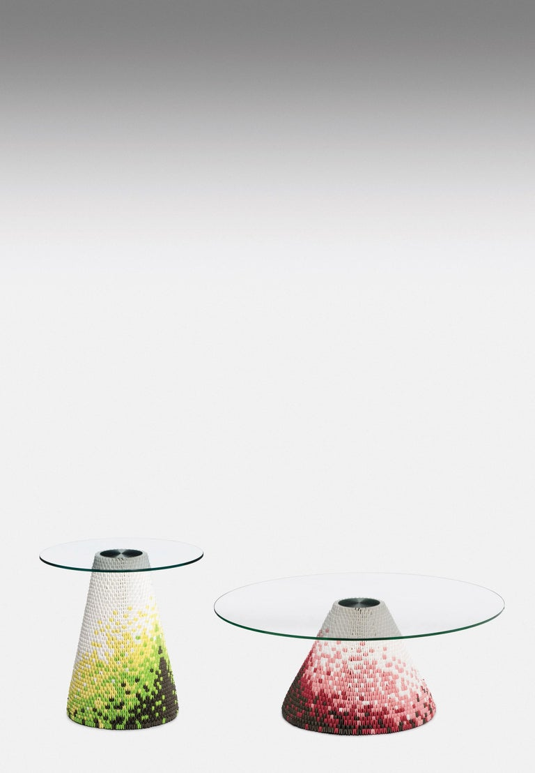 Modern Established & Sons Zipzi in Warm Hues Pattern 3 with Glass Top by Michael Young For Sale