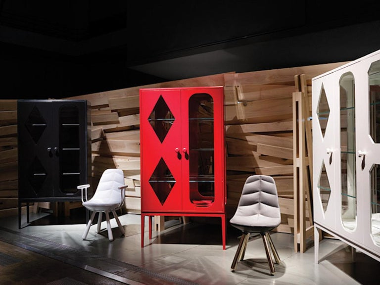 Modern Established & Sons Tudor Two-Door Cabinet in Red by Jaime Hayon For Sale