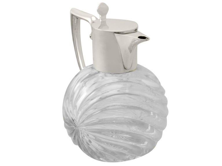 English Victorian Cut Glass and Sterling Silver Mounted Claret Jug For Sale