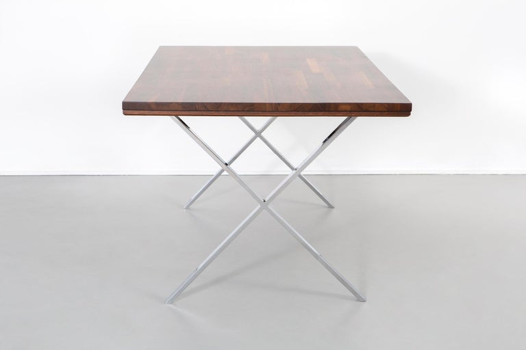 Modern Milo Baughman Rosewood and Chrome Campaign Desk For Sale
