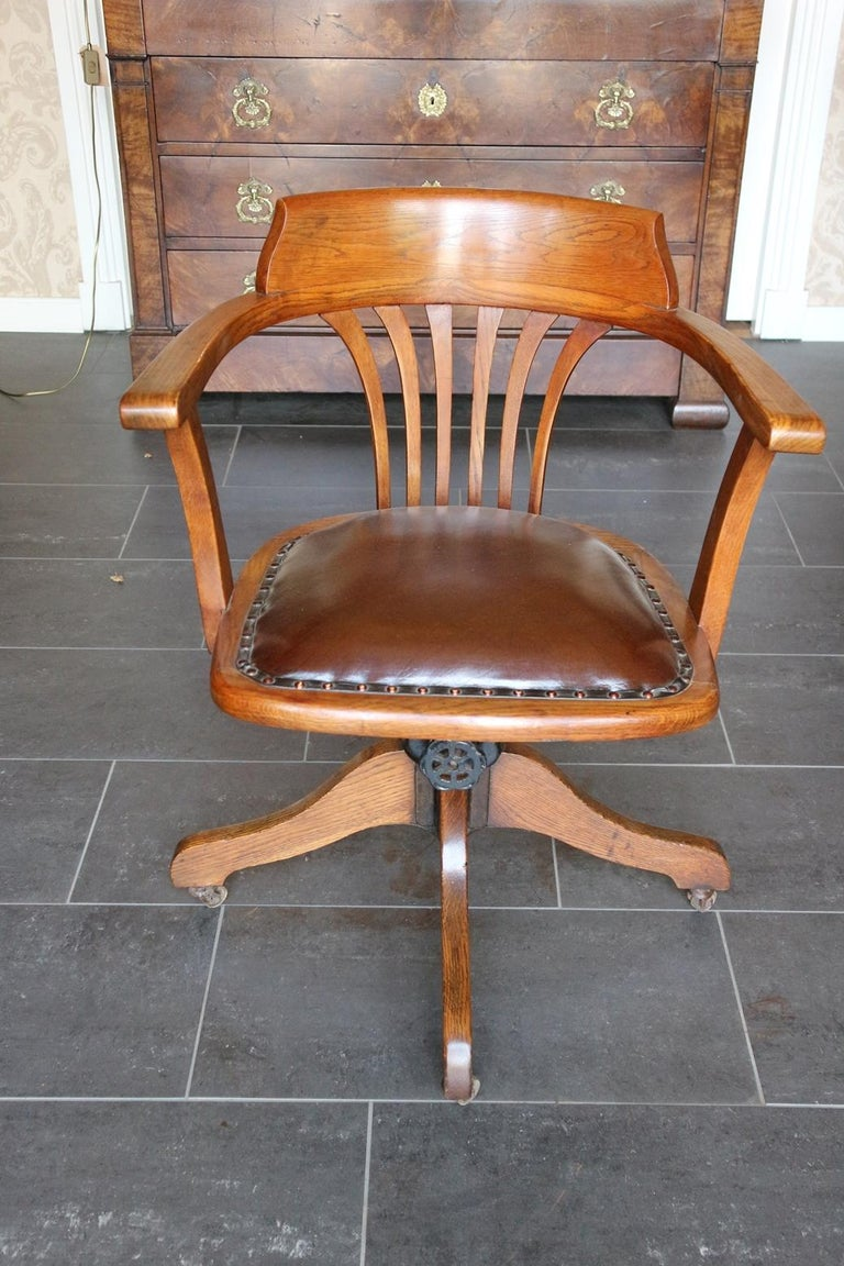19th Century Antique Oak Office Chair At 1stdibs
