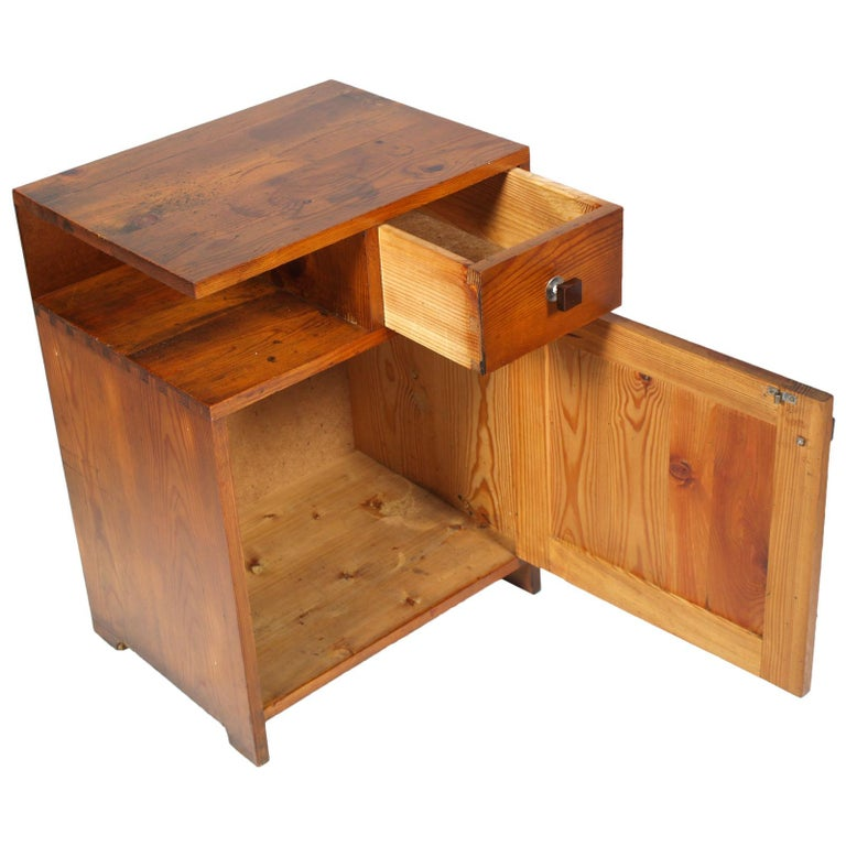 Italian 1920s Tyrolean Nightstand Art Deco in Larch,  Wax Polished For Sale
