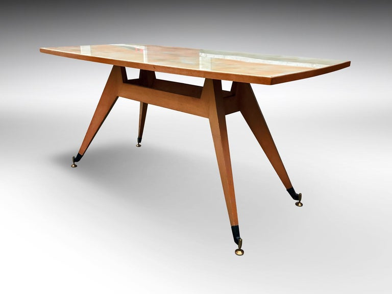 Mid-Century Modern Italian Mid-Century Geometric Dining Table, 1950s For Sale