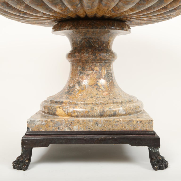 Neoclassical  Wide Mouthed Tazza Style Marble Urn For Sale