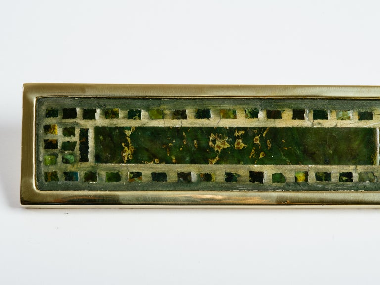 Mid-Century Modern Pepe Mendoza Brass and Inlaid Stone Door Handle For Sale