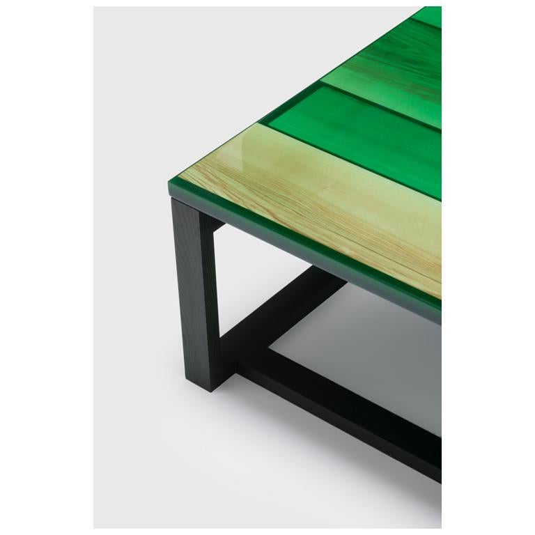European Iro Low Table in Green Stained Ash and Ocean Green by Jo Nagasaka For Sale