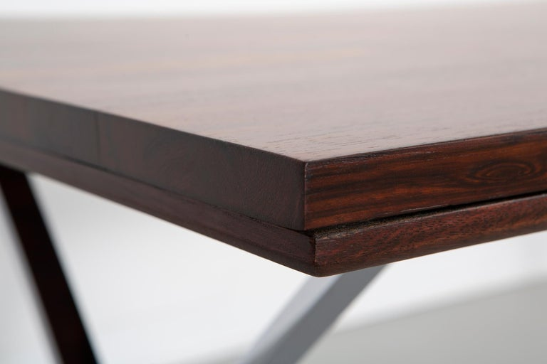 American Milo Baughman Rosewood and Chrome Campaign Desk For Sale