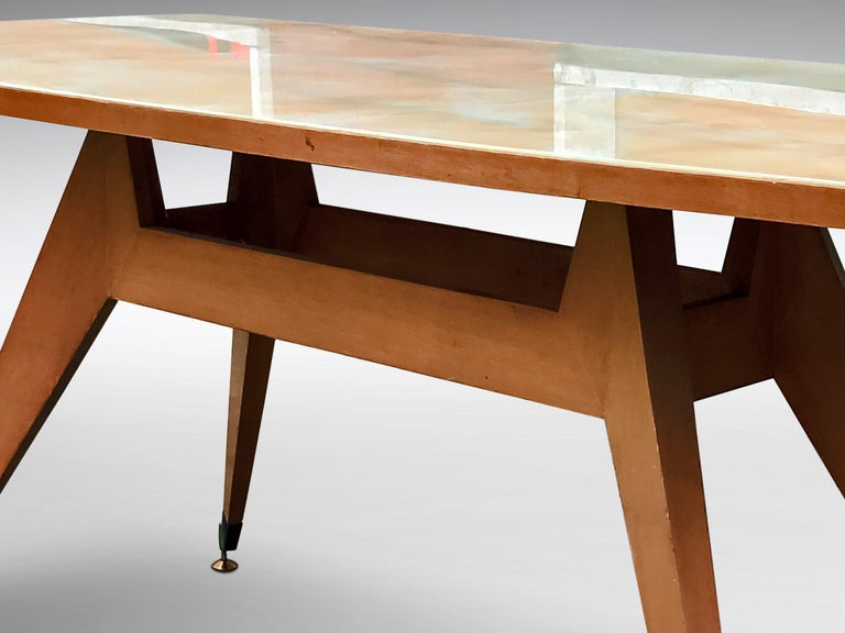 Italian Mid-Century Geometric Dining Table, 1950s In Good Condition For Sale In Traversetolo, IT