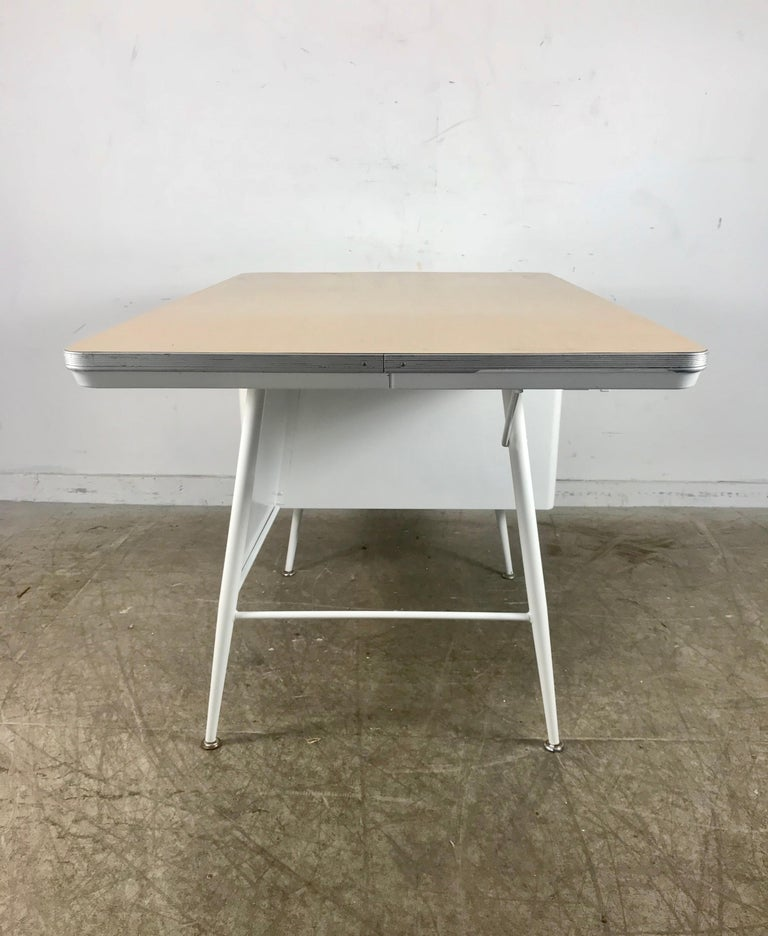 Mid-20th Century Modernist Lacquered Steel Desk, Metal Industrial For Sale