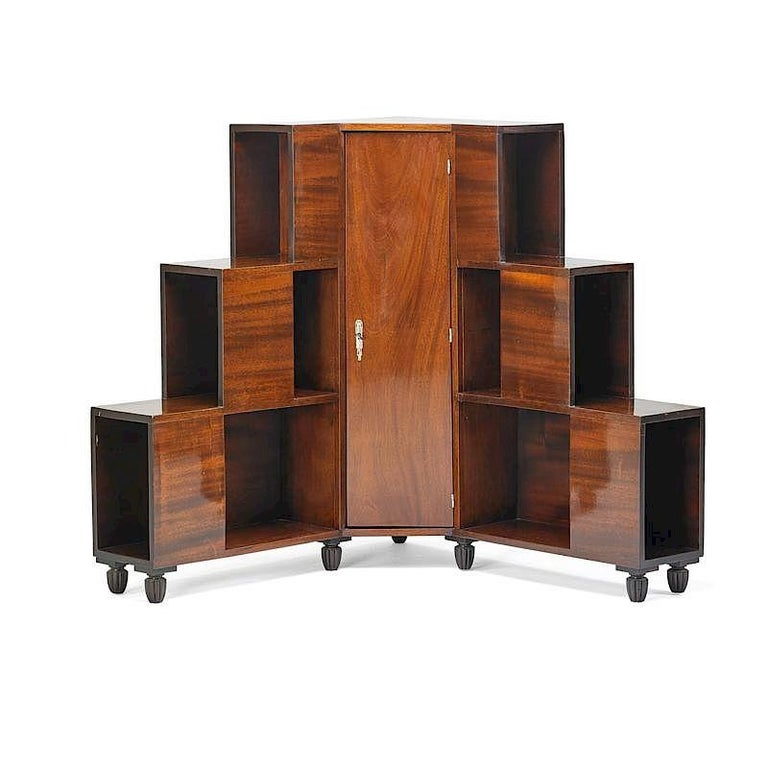 Mid-20th Century Mahogany French Art Deco Corner Cabinet in the Style of Dominique, circa 1930 For Sale