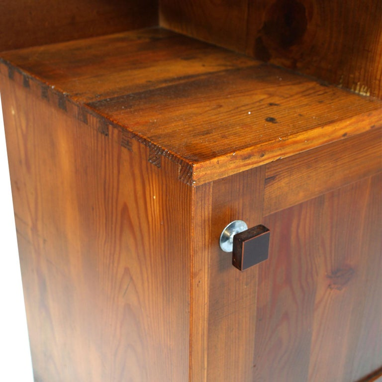 Early 20th Century 1920s Tyrolean Nightstand Art Deco in Larch,  Wax Polished For Sale