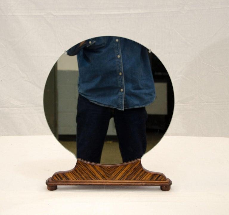 Webb Furniture Dresser With Mirror: Art Deco Round Walnut Freestanding High-Boy Dresser Mirror
