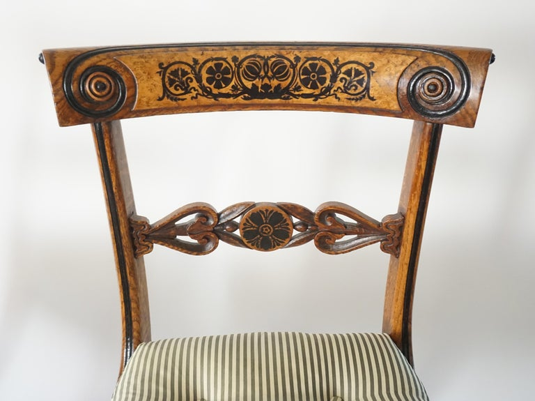 Chairs by George Bullock, Set of 4, England, 1816 In Good Condition For Sale In Kinderhook, NY