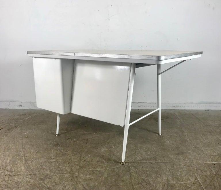 Aluminum Modernist Lacquered Steel Desk, Metal Industrial For Sale