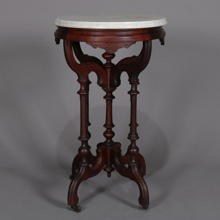 Antique Eastlake Carved Walnut Marble Top Plant Stand