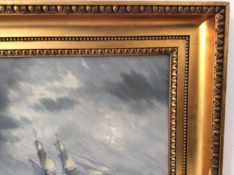 Painting Marine style of Carl Frederik Sørensen In Fair Condition In Lyngby, DK