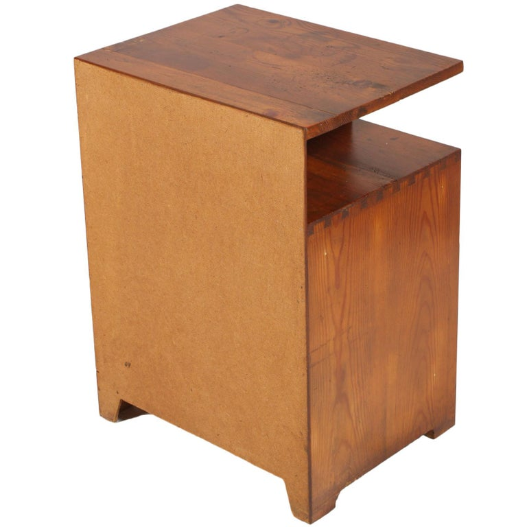 Pine 1920s Tyrolean Nightstand Art Deco in Larch,  Wax Polished For Sale
