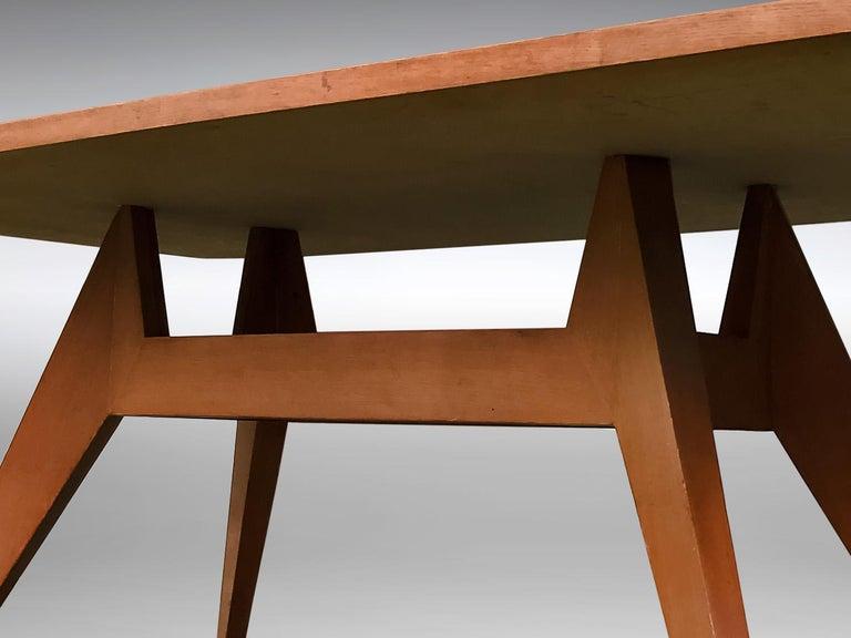 Wood Italian Mid-Century Geometric Dining Table, 1950s For Sale