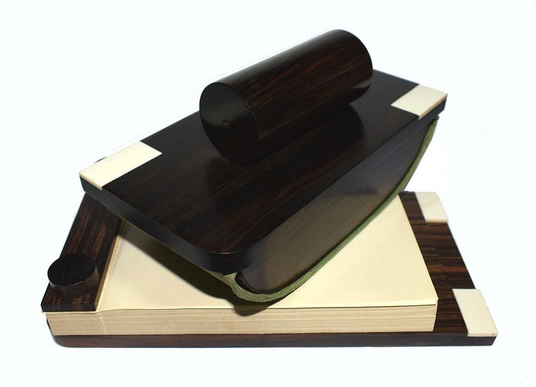 French Art Deco Desk Set in Macassar Ebony For Sale 3