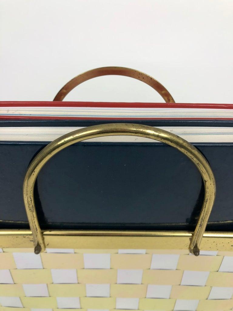 Magazine Racket Holder in Brass and Chrome Hollywood Regency Romeo Rega, Italy For Sale 1