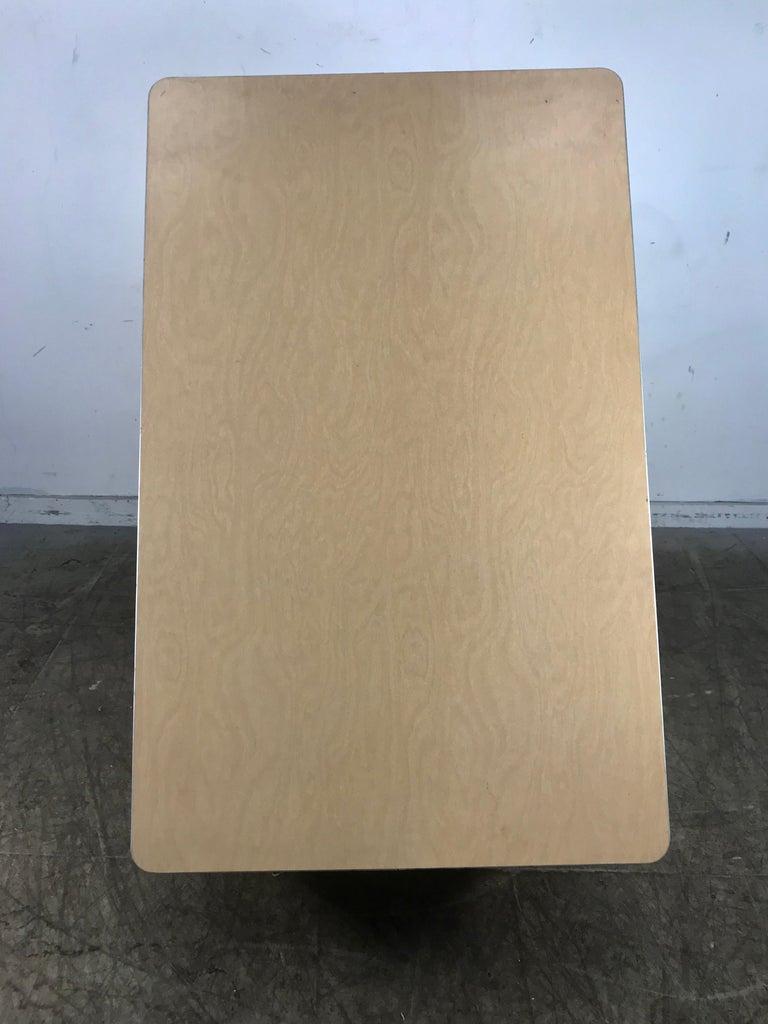Modernist Lacquered Steel Desk, Metal Industrial For Sale 2