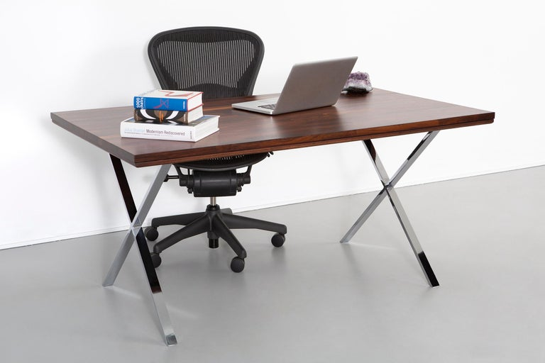 Milo Baughman Rosewood and Chrome Campaign Desk For Sale 2