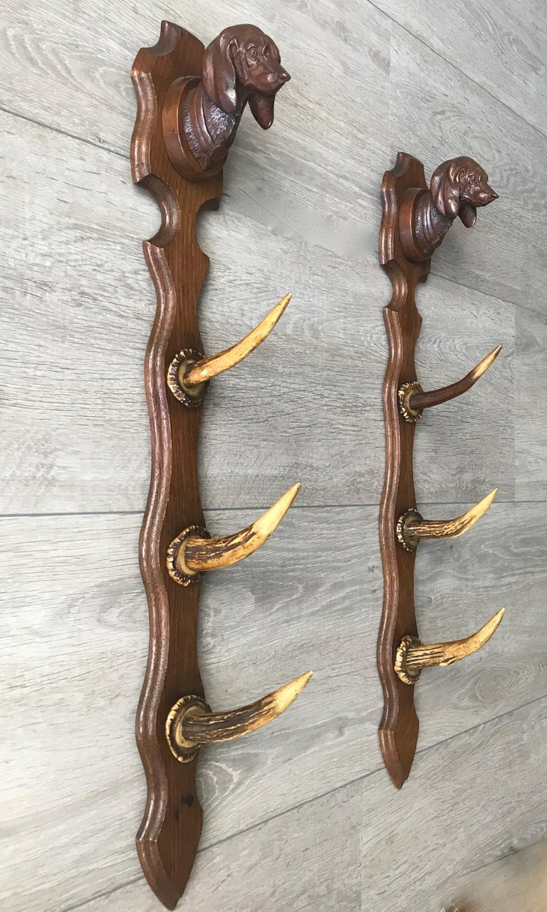 Antique Oak Three Rifle Rack / Wall-Mounted Gun Display w. Dachshund Sculptures For Sale 1