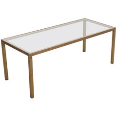 English Early 20th Century Brass & Glass Coffee Table