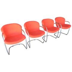 Set of Four Tubular Chrome Chairs by Gastone Rinaldi for RIMA