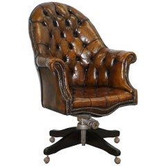 Restored 1920s Hillcrest Chesterfield Brown Leather Directors Captains Chair A1