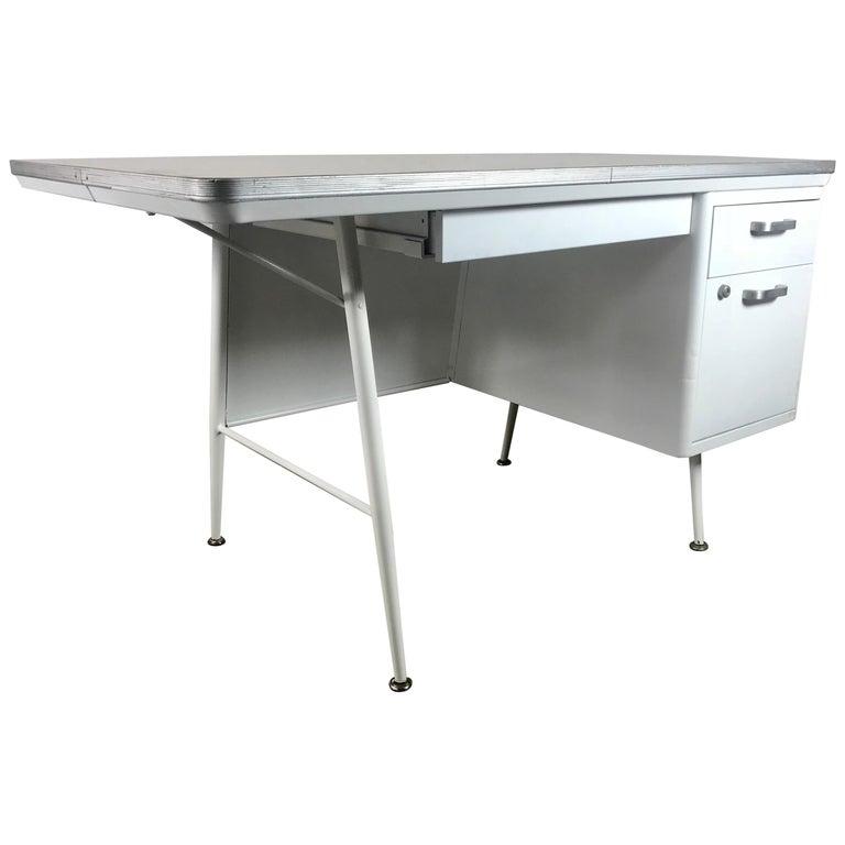 Modernist Lacquered Steel Desk, Metal Industrial For Sale