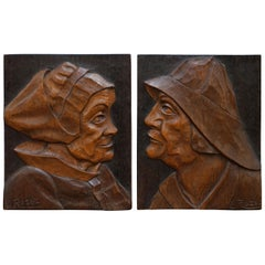 Pair of Rare Hand Wood Carved Walnut J Rozec Signed Portraits Fisherman & Wife