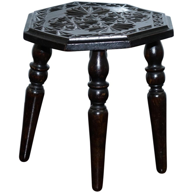very small liberty 39 s london english oak side table plant stand carved floral at 1stdibs. Black Bedroom Furniture Sets. Home Design Ideas